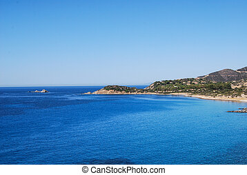 View of beautiful sea of Villasimius, in Sardinia, Italy