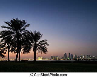 doha skyline in qatar