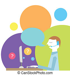 Customer support - Vector colorful Illustration of customer...