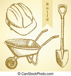 Sketch helmet, barrow and shovel, vector background - Sketch...