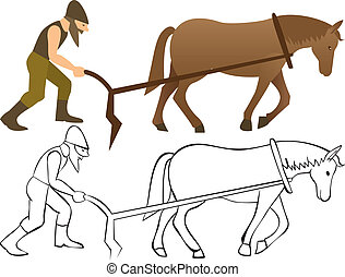 Plowman and horse with plow - color and outline illustration