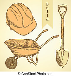 Sketch helmet, barrow and shovel, vector background - Sketch...