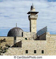 Jerusalem Al-Aqsa Mosque dome and minaret 2012