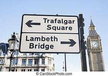 Trafalgar Square and Lambeth Birdge Street Sign, London,...