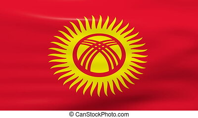 Waving Kyrgyzstan Flag, ready for seamless loop.