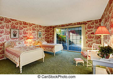 Bright old fashion bedroom interior in contrast colors -...