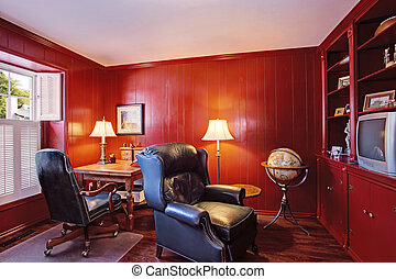 Bright red office room inteiror in old house - Bright red...