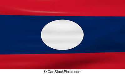 Waving Laos Republic Flag, ready for seamless loop