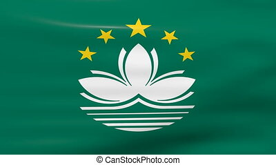 Waving Macau Flag