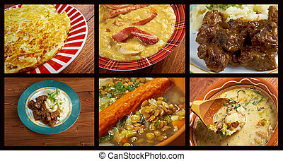 Western European cuisine.Food set