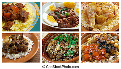 Food set African traditional cuisinecollage