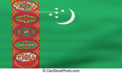 Waving Turkmenistan Flag, ready for seamless loop.
