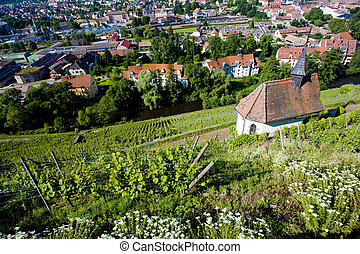 vineyard - grand cru vineyard and Chapel of St. Urban,...