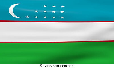 Waving Uzbekistan Flag, ready for seamless loop.