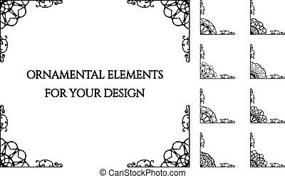 Calligraphic design elements - Calligraphic frame design...