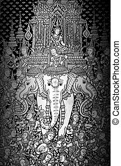 Ancient Thai pattern on wall in Thailand Buddha Temple , Asian B