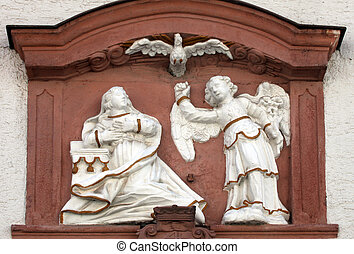 The Annunciation , bas relief on the main street of...