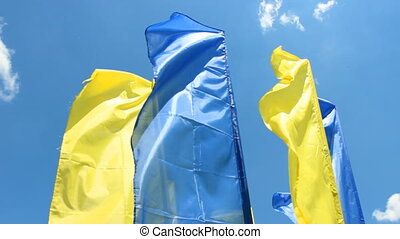 blue and yellow flags flutter in the background blue sky