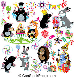 cartoon set with birthday party of mole, isolated images for...