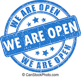 We are open stamp - We are open vector stamp