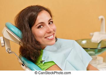Girl on examination at dentist