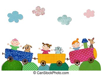 Children traveling by train - Colorful graphic illustration...