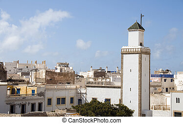 mosque and rooftops essaouira morocco - rooftop view of...