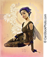 Fairy with Purple Hair, 3d CG - 3d computer graphics of a...