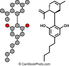 Cannabidiol (CBD) cannabis molecule. Has antipsychotic...