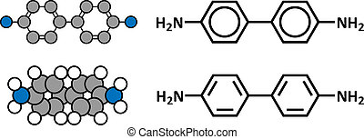 Benzidine (4,4'-diaminobiphenyl) chemical. Highly carcinogenic. Used in production of dyes.