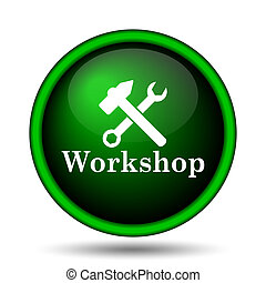 Workshop icon. Internet button on white background.