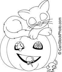 Halloween coloring page - Cat sleeps on the pumpkin with...
