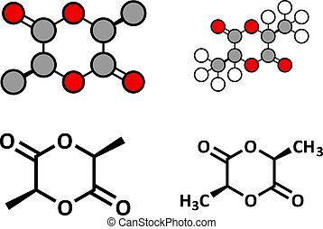 L-lactide PLA precursor molecule. Used in synthesis of...
