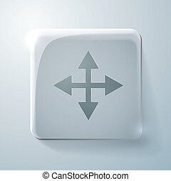 Glass square icon with highlights. the move arrows - Glass...