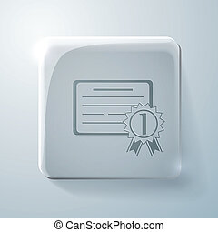 diploma for the first place. Glass square icon