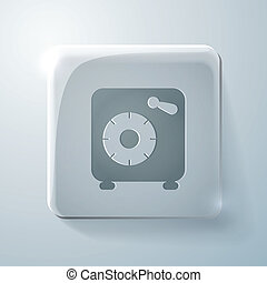 bank vault. Glass square icon with highlights - bank vault...