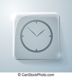 Glass square icon with highlights. clock. watch