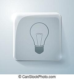 incandescent lamp. Glass square icon