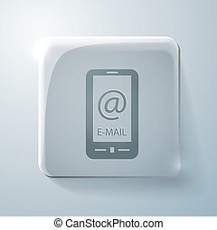 smartphone with the symbol mail. Glass  icon