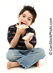 Pop Tart Boy Laughing and Eating - Adorable six year old boy...