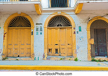 Casco Viejo in Panama city, Panama - Doors at the street at...
