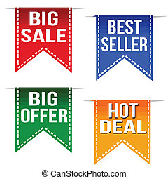 Big sale, best seller, big offer and hot deal ribbons set on...