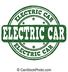 Electric car stamp - Electric car grunge rubber stamp on...