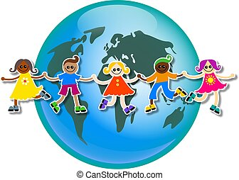 global kids - A group of happy and diverse children holding...