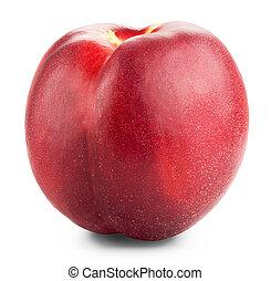 Nectarine fruit isolated on white background cutout....