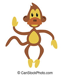 nice monkey on white background