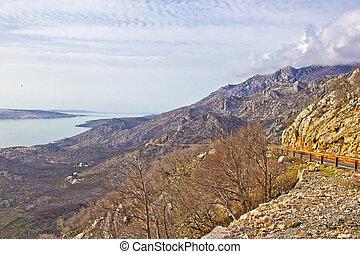 Velebit mountain cliffs and road, Coatia