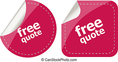 Free quote glossy button set isolated on white