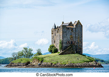 Stalker Castle in Scotland - Medieval Stalker Castle on...