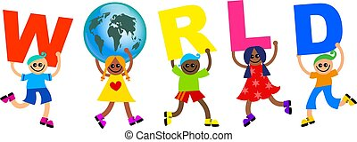 world kids - A group of happy and diverse children holding...